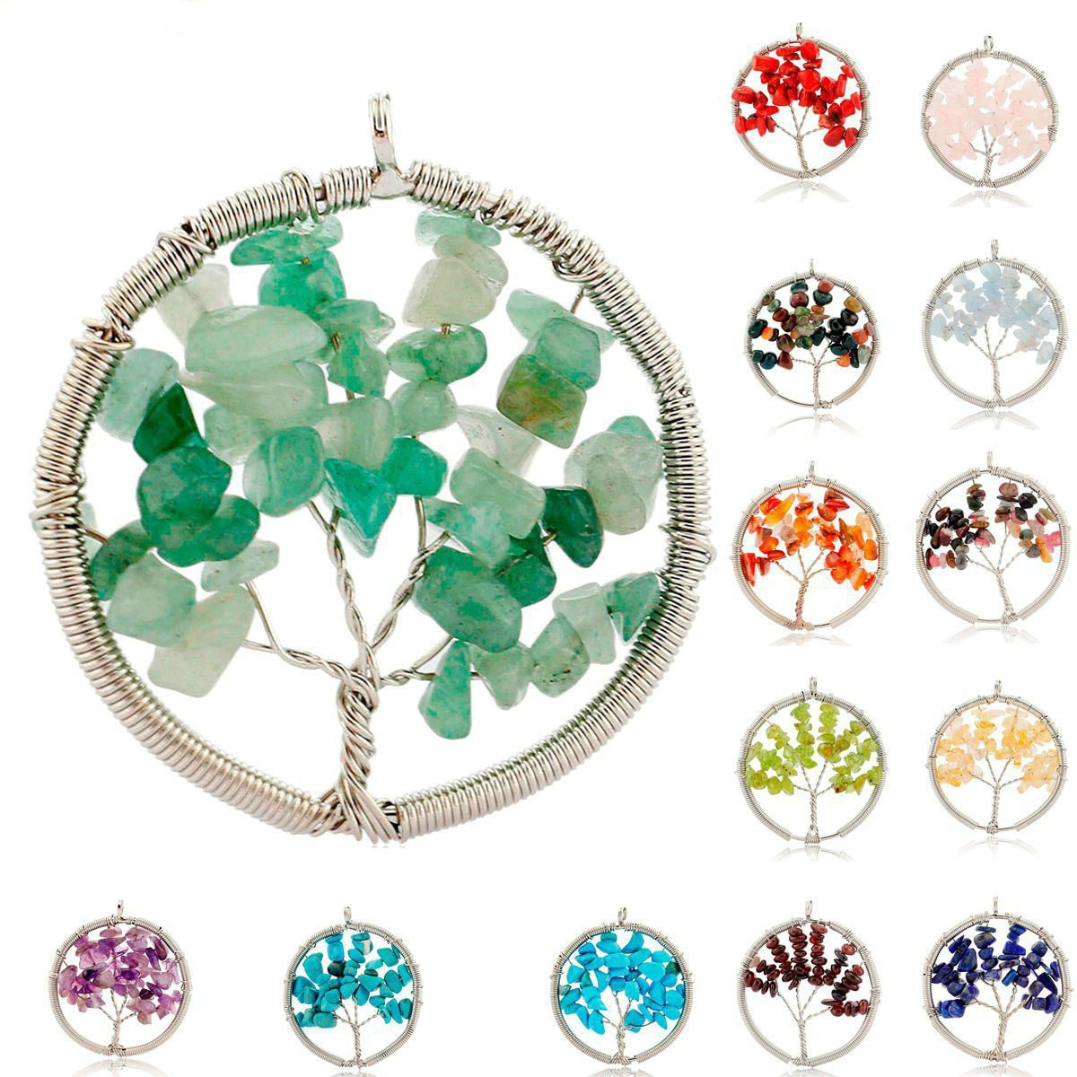 Grava de cristal Natural Árbol de la vida colgante hecho a mano alambre envuelto redondo collar Reiki péndulo de joyería accesorios para mujer regalo