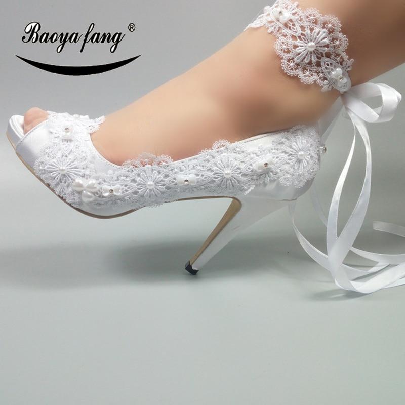 BaoYaFang 2020 الكاحل حزام المرأة أحذية الزفاف اللمحة تو فتح الجانب أحذية أنيقة امرأة عالية الكعب أحذية منصة مضخات امرأة