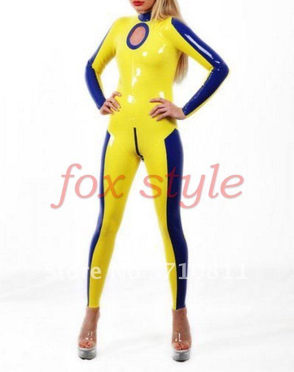 sexy latex Women's Clothing catsuit bodysuits with a hole in the neck