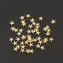 100 Pcs/Lot 5mm 3D régulière étoile de mer forme or argent couleur métallique Nail Art bricolage décorations 290254