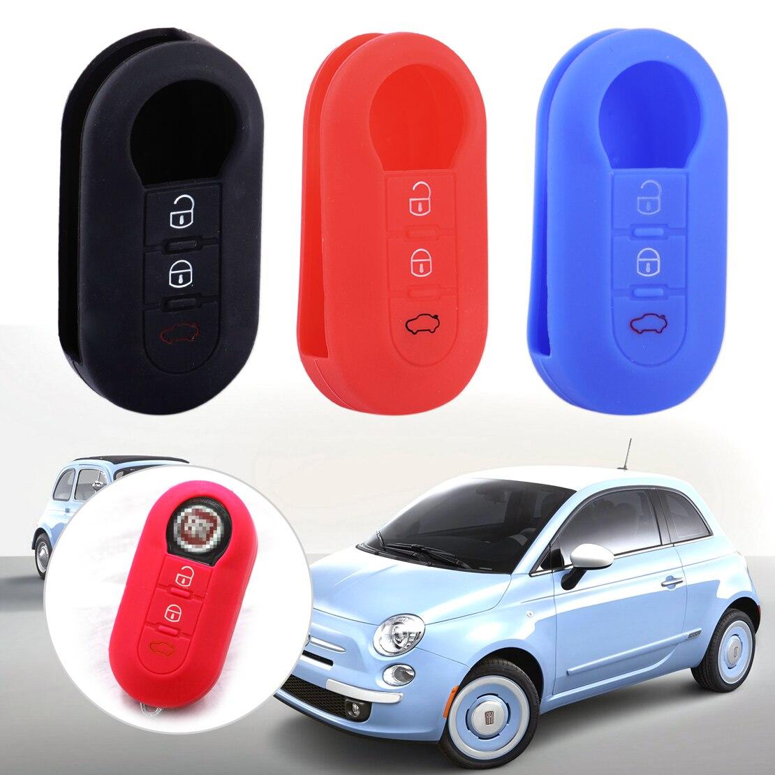 Beler silicona negro/rojo/azul cubierta de la llave del coche 3 botón Flip remoto key Soft Shell en blanco Fob para Fiat 500 de alta calidad