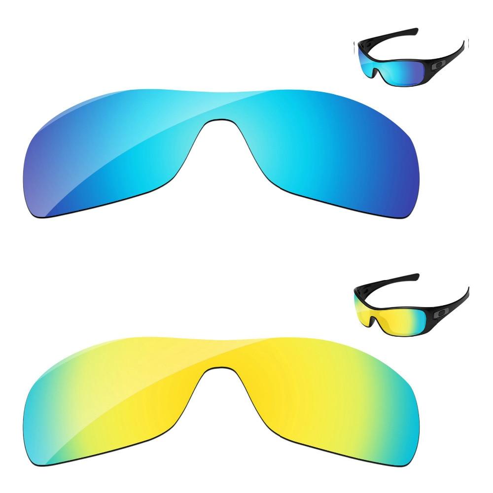 24 K золотой и голубой цвета, 2 шт., зеркальные поляризованные Сменные линзы для солнцезащитных очков Antix, защита от 100% UVA и UVB