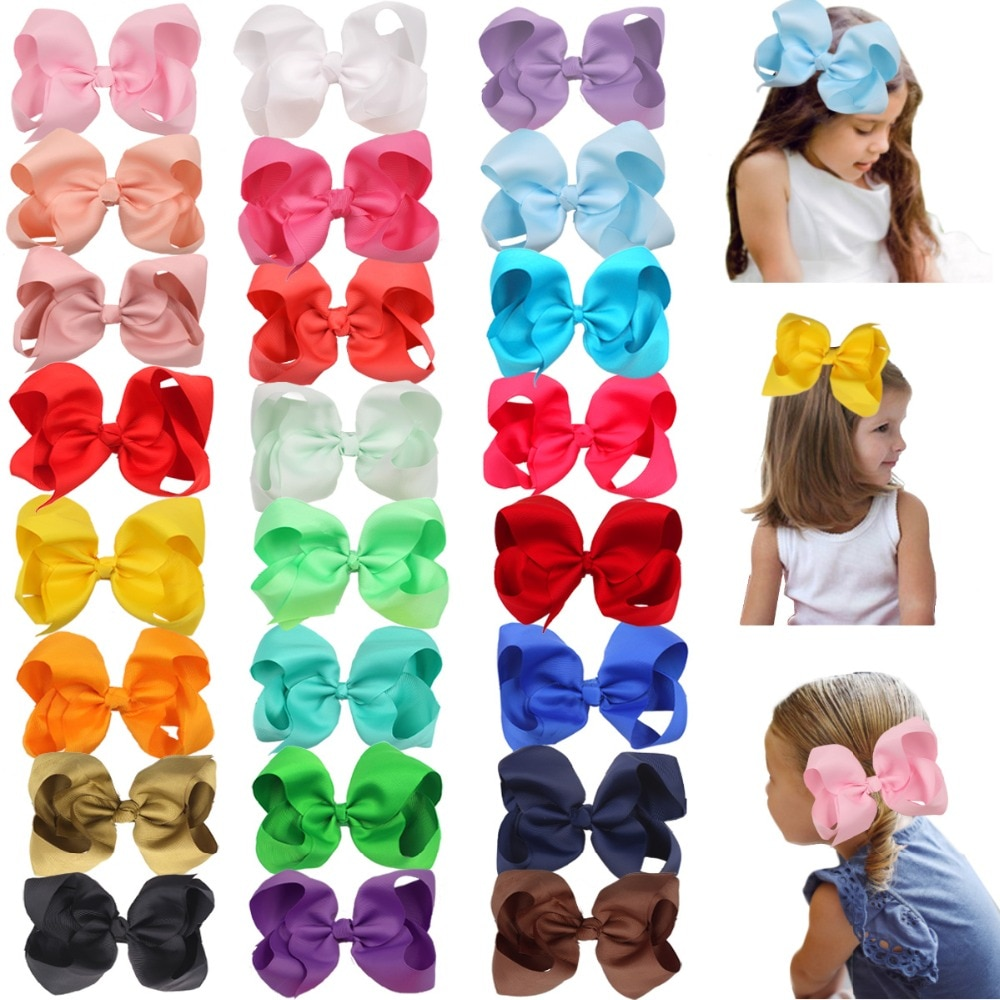 AliExpress - 24 Pcs 6 Inch Hair Bows for Girls Big Grosgrain Girls 6″ Hair Bows Alligator Clips For Teens Kids Toddlers