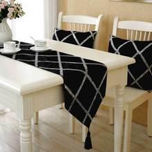 European fashion velvet table flag Shining Diamond lattice decor table runner  black with shining lattice table art cloth