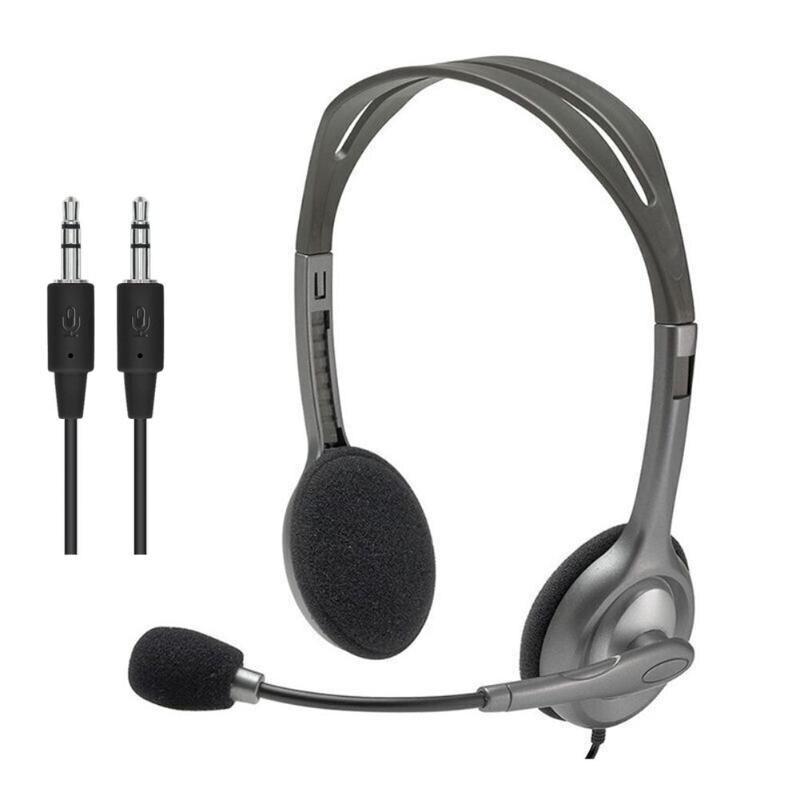 Auriculares estéreo con cable Logitech H111 de 3,5mm, auriculares con micrófono para ordenador, smartphone, juegos de música, uso en el trabajo