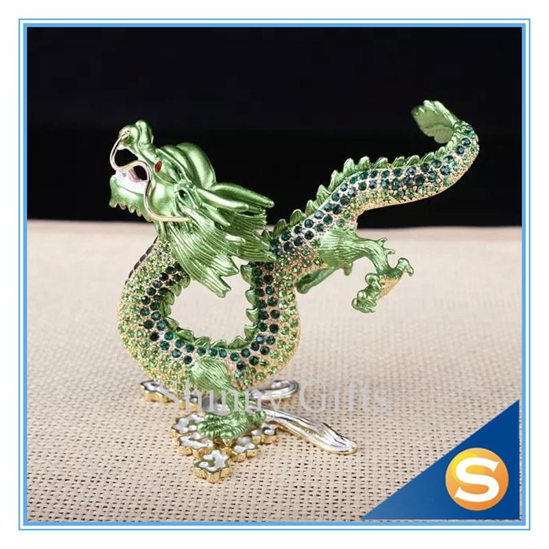 Dragón chino tradicional estaño Material checo cristalizado dragón estatuilla mostrar regalos y decoración dragón chino