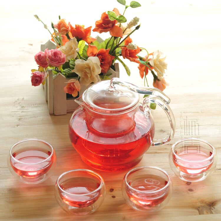Bela 600 ml de Vidro bule com infusor/filtro + 4/6 Copos De Vidro Double-wall, quente, a vela, jogo de café para Chinês/chá puer