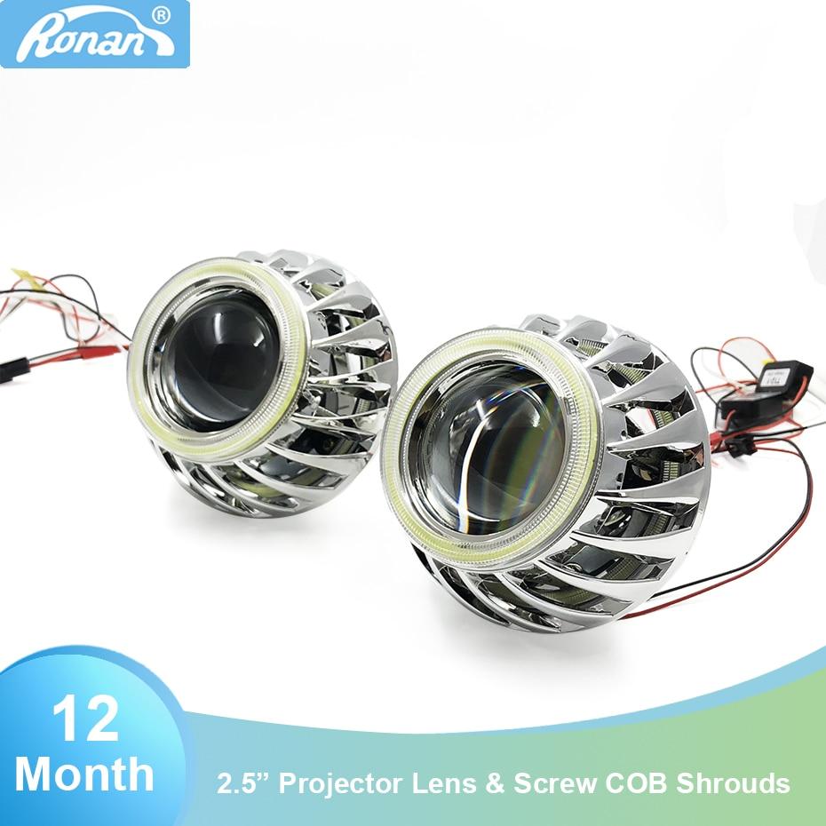 RONAN 2.5'' mini H1 ver 8.1 Bi Xenon Projector lens Double DRL COB angel eyes Spirals masks for H4 H7 Headlights car styling