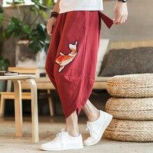 Marque pantalon court ample style japonais et coréen 2020 été nouvelle mode calmar broderie hommes grande taille harem pantalon
