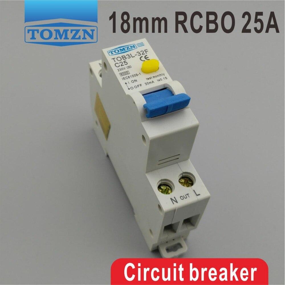 TOB3L-32F RCBO 25A 1P + N 6KA, disyuntor de corriente Residual de 18MM con protección contra sobrecorriente y fugas