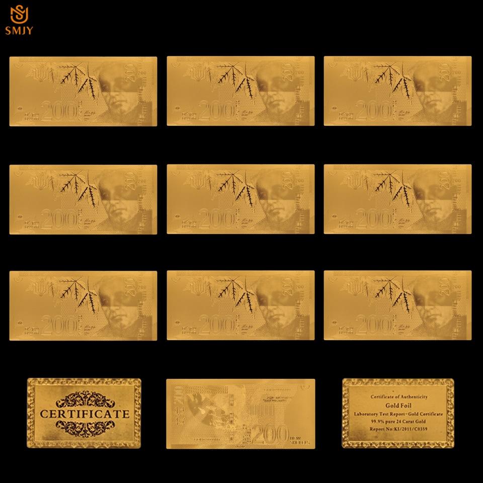 10 pièces/lot ensemble monde monnaie papier israël 200 nouveau Shekel feuille dor papier argent or billets Collections