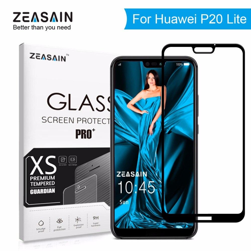 Zeasain original funda completa templada de vidrio para Huawei P20 Lite P20Lite Huaweip20 Lite Protector de pantalla 9H 2.5D película de vidrio de seguridad