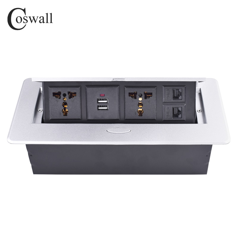 Placa de aleación de Zinc COSWALL POP UP 2 enchufe Universal para UE Reino Unido Chile doble puerto de carga USB 2 RJ45 CAT5E toma de corriente de Internet