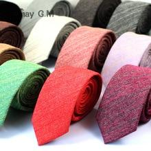 2017 Fashion Casual Cotton Solid Mens Ties for Men 6CM Width Narrow Wedding Business Groons Necktie Fresh Neck Tie Neckwear