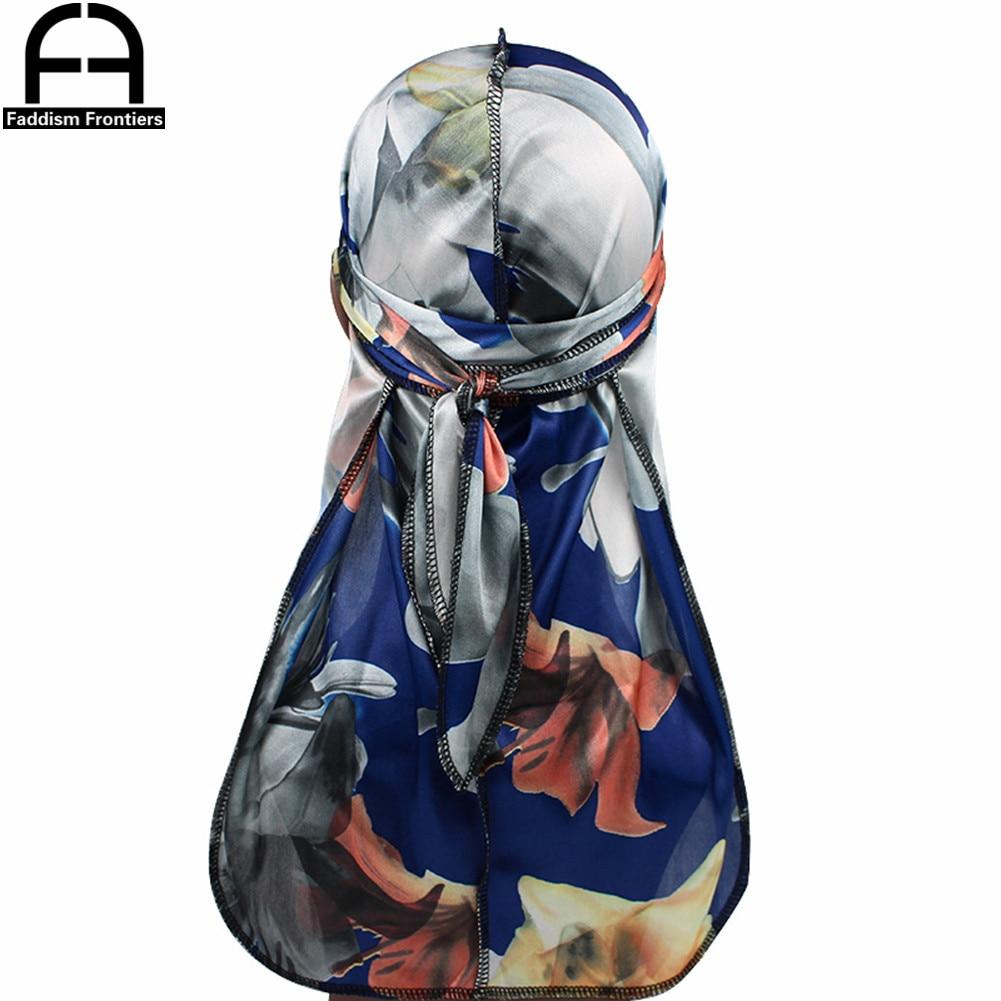 Unisex Men Floral Silk Durag Stretchy Bandanas for Men Turban Hat Headwear Long Straps Headband Waves Silky Durags