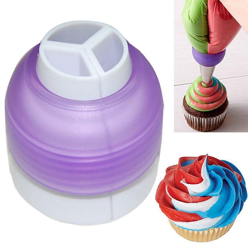 Baking Tri-Color Coupler Decorating Tool Cake Tools Cupcake Fondant Nozzles Adaptor Tip Converter