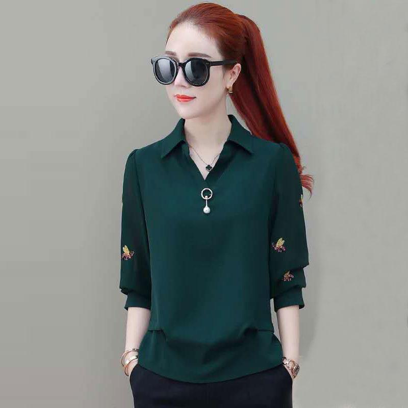 Women Casual Chiffon Blouses Shirts New Autumn Fashion Korean Style Embroidery Office Lady Elegant Tops Shirt Plus Size P037