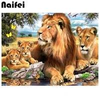 5D BRICOLAGE Plein Carre rond Diamant Peinture  lion  animal doux maison 3D Broderie point De Croix Mosaique Peinture Decor A La Maison Cadeau