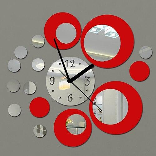 Autocollant Mural effet miroir en acrylique   Horloge décorative artisanale à la mode