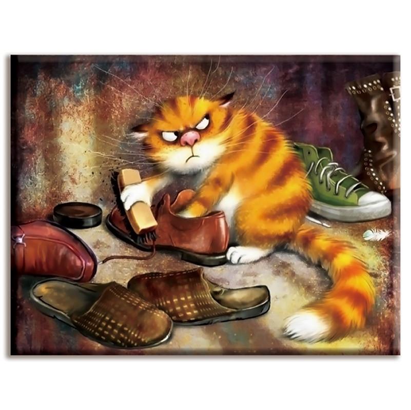 Dmc,Cross-stitch,embroidery, Shoe-shining cat ,White canvas 40x50cm,cotton thread,Diy,Needlework,kits,Home decor,animal crossing
