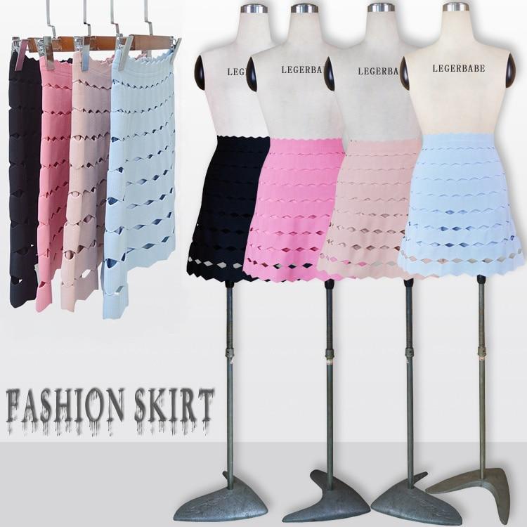 Qualidade superior celebridade rosa preto nude azul listrado mini rayon bandage saia elegante moda saia
