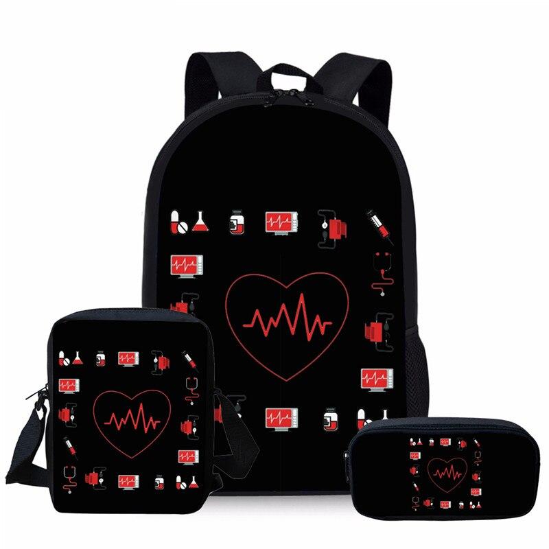 NOISYDESIGNS Nurse Heart Printing School Bags Kids 3pc/set Primary Schoolbag Children Shoulder Bagpack Teenagers Large Satchel