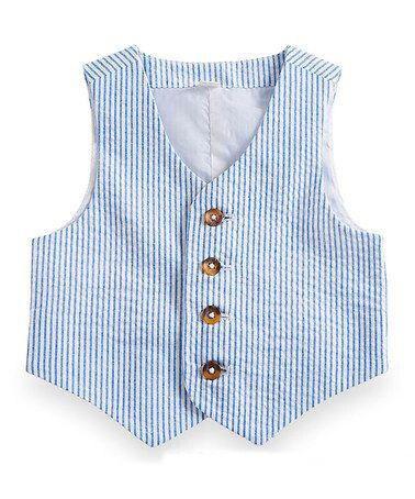 Chaleco azul a rayas de algodón Seersucker para niños, chaleco de traje para niños, ropa Formal delgada para niños, traje para fiesta de graduación, chaleco de boda