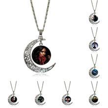 EJ Glasur Für Männer Frauen Vampire Diaries Vintage Schmuck Silber Farbe Glas Cabochon Choker Crescent Moon Anhänger Lange Halskette