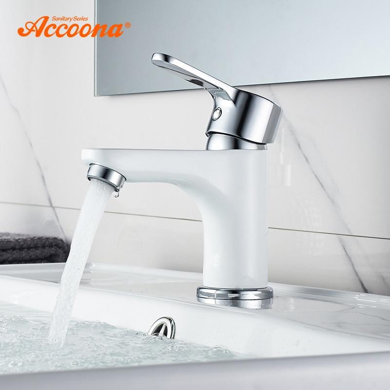 Accoona-صنبور حمام جديد معاصر ، مقبض نحاسي مطلي ، ثقب واحد ، مياه ساخنة وباردة ، موديل A9067