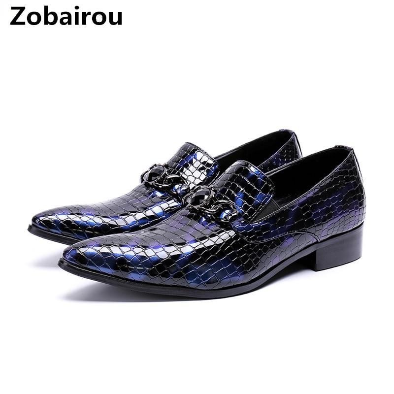 Zobairou fashion designer python skin genuine leather oxford shoes ofr men pointed toe dress wedding loafers blue prom brogues