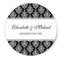 1.5 pouces noir et blanc damassé rond étiquette de faveur de mariage classique autocollant rond
