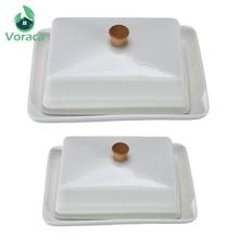 Weiß Keramik Butter Teller Sushi Teller Obst Käse Platten Kompott Küche Exquisite Abdeckung Lagerung Box Container Halter 6/8 Zoll