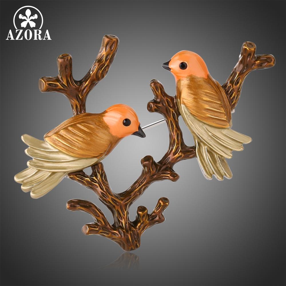 Marca AZORA, pintura asada con dos pájaros en el árbol, broche Vintage de alta calidad, broches Pin para boda, vestido de mujer, broches de joyería para novia TP0087