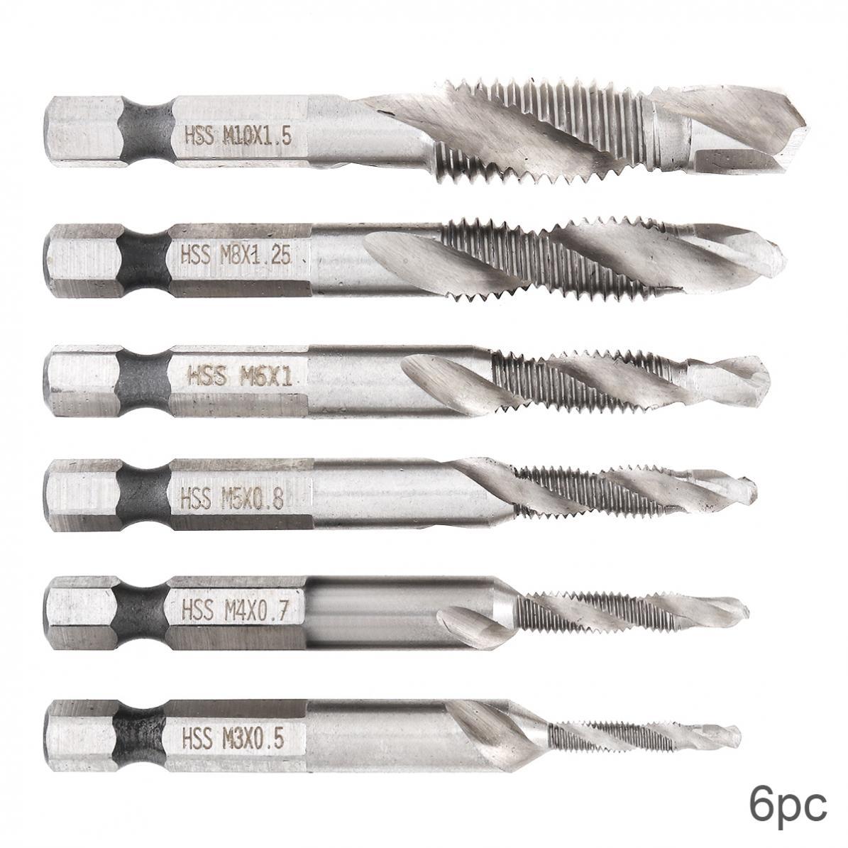 6 unids/set brocas de acero de alta velocidad caña hexagonal HSS tornillo punta rosca métrica taladro macho apto para broca