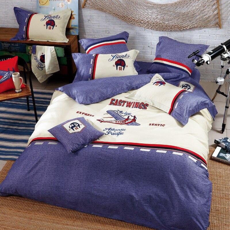 2017 nueva moda americana dibujos animados niños avión edredón cubierta 4 Set 100% algodón 60 S juego de cama de Estudiante
