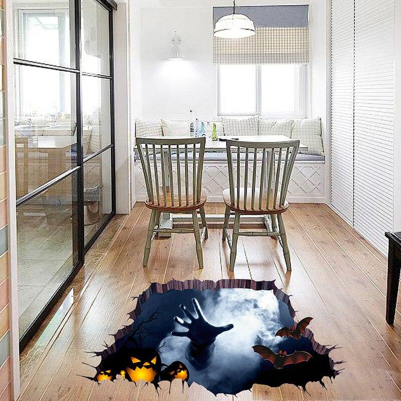 Calcomanías para decoración de suelo de pared rotas de PVC 3D, accesorios de decoración de centro comercial de Halloween, calcomanías para ventana de araña de mano de calabaza