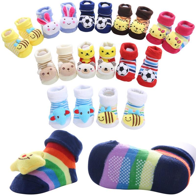 Nuevo puro algodón de dibujos animados no-bebé calcetines de encantador de tres-dimensional muñeca bebé a aprender a calcetines para caminar 30 tipos elegir
