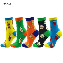 VPM Eu 35-48 Men&Women's Socks High Quality 200 Needle 85% Combed Cotton Calcetines Mujer Hip Hop Food Happy Harajuku Funny Sock