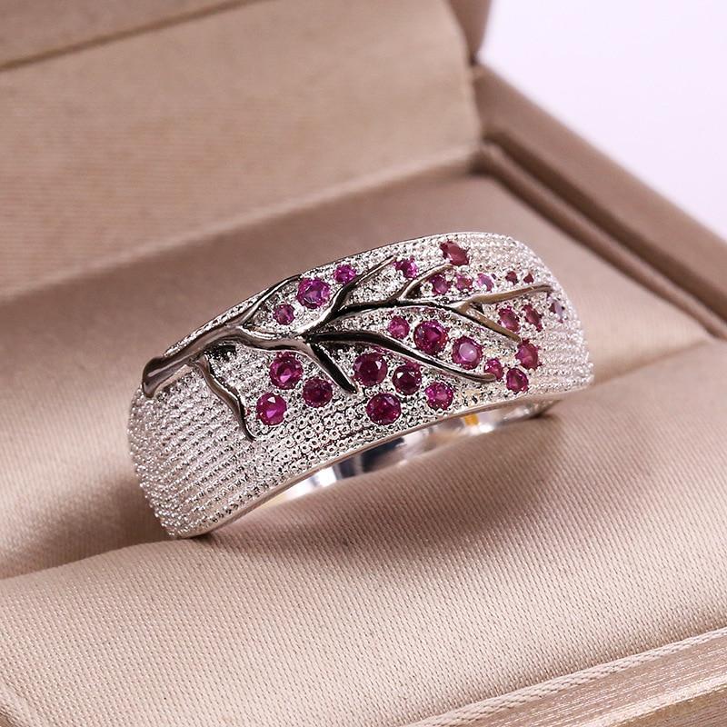 Женское кольцо в виде ветки, модное блестящее кольцо с цветным кристаллом и цирконием