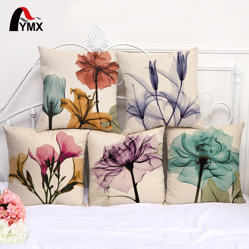 """18 """"pequeñas flores frescas y algodón cojín de lino para sofá funda de cojín funda de almohada al por mayor"""