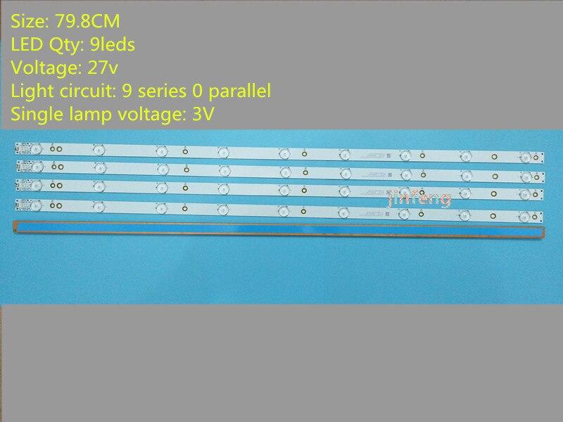 (Nuevo Kit) 4 piezas 9LED 798mm LED de retroiluminación para Sony TV KDL-40R380D 40PFL3240 GJ-DLEDII P5-400-D409-V7 TPT400LA-J6PE1