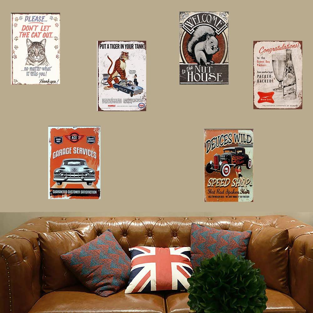 Tigre cartel metal retro Esso decoración de tigre Placa de estaño lata de gasolina de estilo americano Vintage coche garaje rectángulo cartel