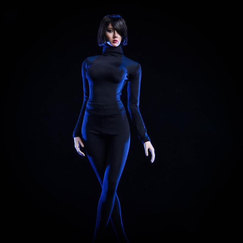 Conjunto de ropa femenina a escala 1/6, pantalones ajustados y abrigo de cuello alto en blanco y negro para modelos de 12 pulgadas accesorios de figuras de acción