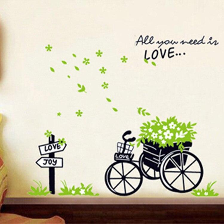 Venda quente criativo casa decorativo papel de parede removível bicicleta cesta flor adesivo