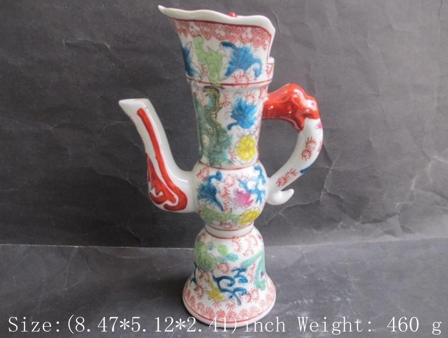 Ancient Chinese ceramics narrow dragon, flowers and plants tea pot