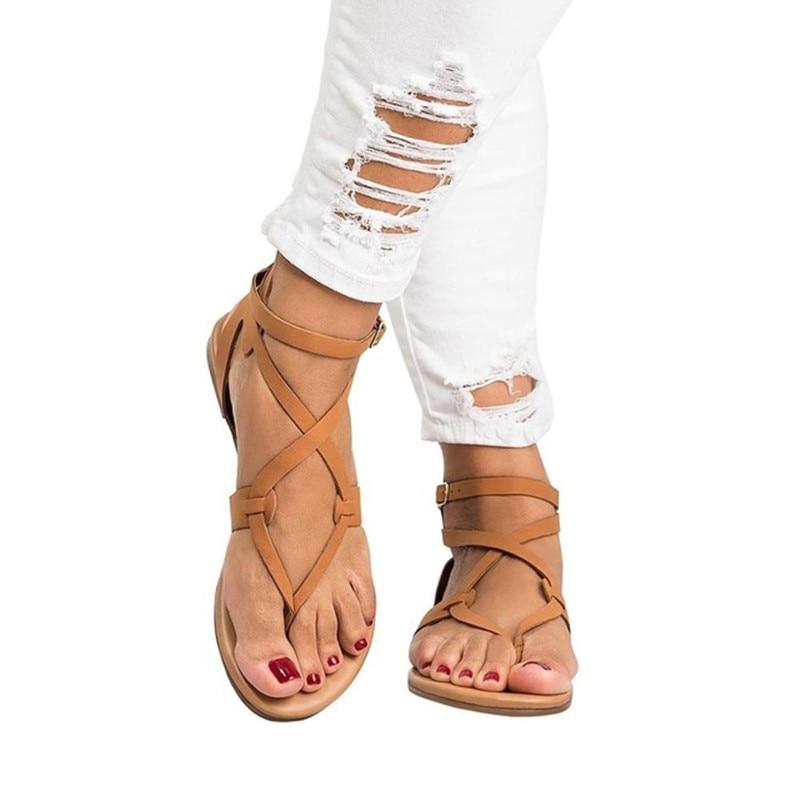 2018, zapatos de mujer, Sandalias planas informales de verano con tiras en el tobillo, sandalias con hebilla para mujer de talla grande 35-43