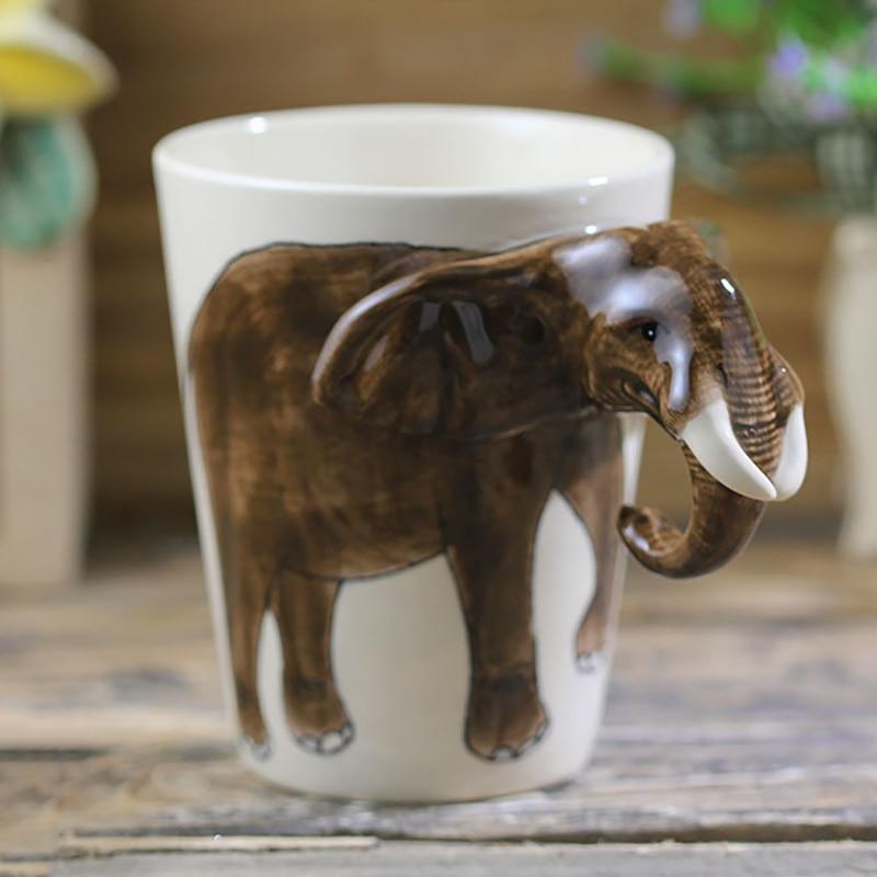 De mano 250ml-animal pintado caricatura de Taza de cerámica elefante taza de café-capa personalizado de regalo
