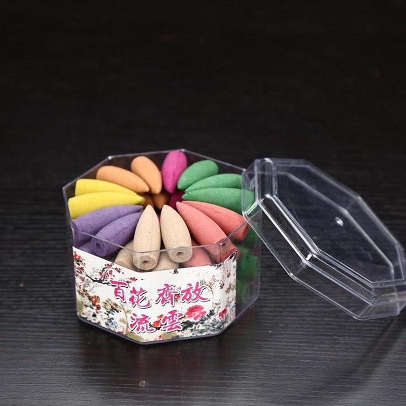 1 caja de conos de incienso de reflujo de humo de colores mezclados, torre de reflujo de Aroma Natural, balas de incienso, jazmín lavanda, rosa de té verde