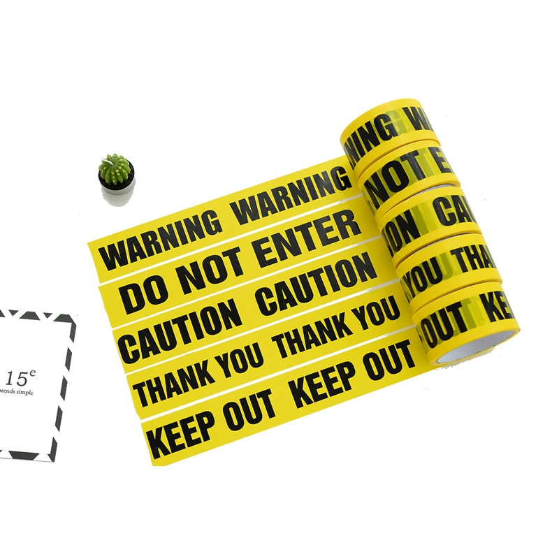 1-rulo DIY 48mm * 25m Opp Uyarı Bantlar Etiket Anti-Skid Uyarı Bariyeri Güvenlik Bantları ev Mağaza Depo Fabrika Okul