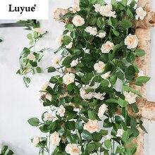 Luyue 230cm Künstliche Blume Reben Hochzeit Decor Rose Gefälschte Blumen Rattan String Garten Hängen Garland Silk Blume Pflanze Blatt